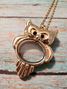 Yellow gold tone owl floating living locket charm necklace new