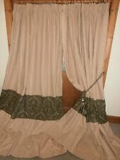 "Extra LONG  Fawn / Taupe Linen Curtains 100""Drop ~ 144""Wide.Blackout.Freepost"