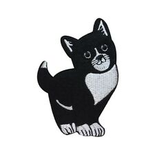 ID 3024 Cute Black and White Cat Kitty Kitten Feline Iron On Applique Patch