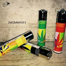 "Clipper Refillable Lighters New Full Size 4pcs Marijuana Hemp ""Leaves"" Collectio"