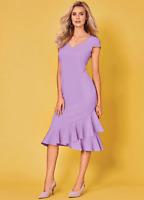 Kaleidoscope Short Sleeve Frill Hem Slip Shift Lilac Dress Size 14 & 22