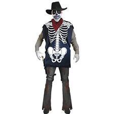 Skeleton Poncho Zombie Cowboy Undead Halloween Horror Wild West Costume