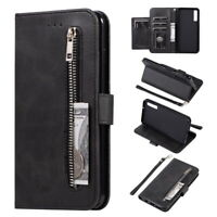 For Samsung Galaxy S10 S9 Plus A50 Flip Leather Card Zip Wallet Case Stand Cover