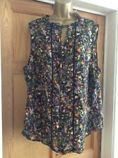 Bnwt Lovely Black Floral Print Button Through Loose Fit Top Size 20