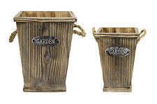 Rustic Pair Of Square Wooden Planter Basket Garden Flower Plant Pot Bucket