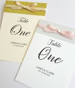 NEW 2019 'Sparkle' Wedding Table Numbers or Names with glitter and bow *top