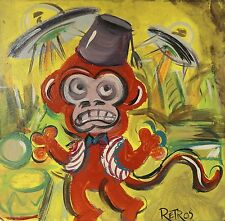RETRO MONKEY UFOS  Shabby Chic, Outsider, painting on maysonite. AWESOME