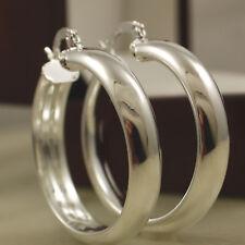 Smooth 925 Stamped Sterling Silver Plt Hoop Earrings - 30mm - New UK 86