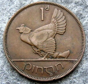 IRELAND FREE STATE 1933 1 PINGIN - PENNY, HEN WITH CHICKS, BETTER DATE