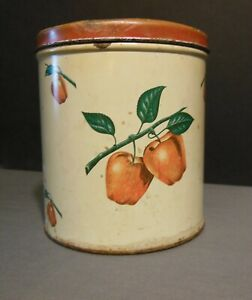 Vintage Decoware Tin Storage Canister with Apple Theme