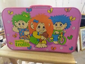 1992 Norfin Trolls Imaginings 3 Child's Carry Case Luggage Bag Suitcase
