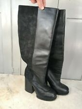 & Other Stories long black leather & suede boots size 39 UK 6