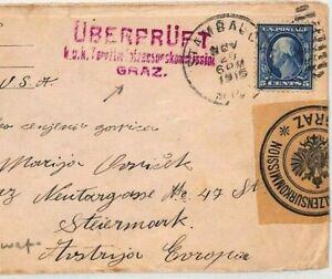 USA Michigan Stanborough AUSTRIA Graz CENSOR 1915 WW1 {samwells-covers} CG92