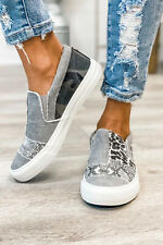 Snake Leopard Mixed Print Slip On Canvas Shoes