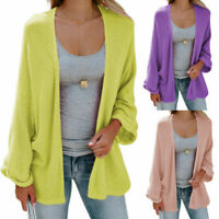 Autumn Women's Open Front Sweater Long Sleeve Cardigan Loose Jacket Coat Tops