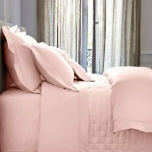 Yves Delorme Paris Triomphe Blush Peach Pink King Duvet Shams 3PC Set Sateen New