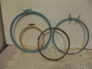VTG LOT of 4 WOODEN,METAL & PLASTIC HOOPS Quilting Embroidery Cross Stitch