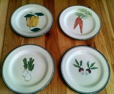 Hartstone Pottery 4 SALAD PLATES Farmer Market USA Radish Leek Carrot Pepper LOT