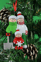 Personalised Family of 2,3,4,5,6 Christmas Tree Ornament -Snow Shovel Decoration