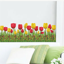 Tulip PVC Wall Stickers Removable Mural Skirting Line Kids Bedroom Decals New