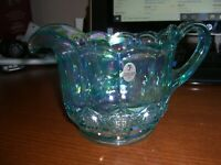 RARE FENTON IRIDESCENT GREEN SQUAT WATER PITCHER WITH TAG (NO BOX)