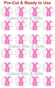 24x PINK BUNNY 1Edible Wafer Cupcake Toppers PRE-CUT Ready to Use 1st Birthday 1