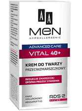 AA MEN HYPOALLERGENIC VITAL 40+ ANTI WRINKLE FACE CREAM HYALURONIC ACID