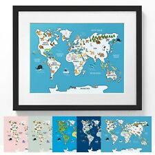 Childrens Animal Map of the World Print A3 Poster - Choose Your Colour