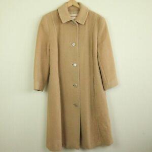Vintage Womens Pendleton USA Tan Wool Jacket Coat 8 Buttons Brown M
