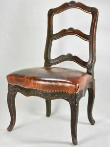 18th century Louis XVI walnut chair with leather