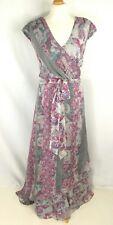 MONSOON 100%silk pastel grey pink purple wrap bust maxi dress SIZE 22