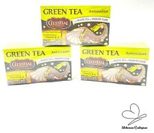 Lot of 3 Celestial Seasonings Green Tea with White Tea Antioxidant 20 Bags Each