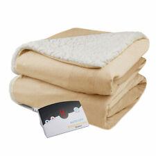 Biddeford Velour Sherpa Electric Heated Warming Blanket Twin Linen