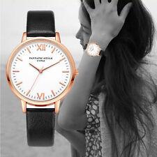 Ladies Fashion Rose Gold White Faced Quartz Roman Numeral Black Band Wrist Watch