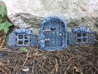 New Fairy Door +  Fairy Windows Set  GREY. Secret Garden Elf/ Pixie Door