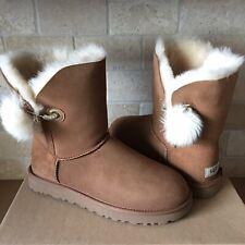 UGG Irina Swarovski Crystal Pin Bling Toscana Pom Chestnut Boots Size 10 Womens