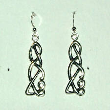 UNUSUAL CELTIC FILIGREE EARRINGS DARK SILVER PLATED
