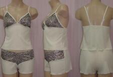 Shamah Lingerie Cream & Teal Leopard Cami Shorts  Large