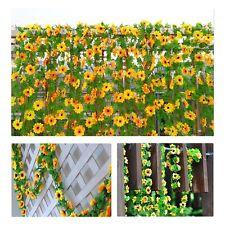 Sunflower Artificial Silk Fake Flowers Ivy Leaf Garland Plants Home Fence Decor