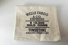 Wells FargoTombstone Large Canvas Money Bank Bag Western Replica Old West New