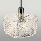 Mid-Century Chandelier Hanging Pendant Light Glass Chrome Lamp Kinkeldey 70s