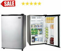Mini Fridge Refrigerator 3.2 Cu Ft Single Door w Freezer Stainless Office Dorm