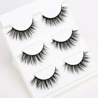 3Pairs Natural False Eyelashes Thick Cross Mink Fake Eye Lashes Makeup Extension