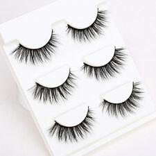3 Pairs Black 3D Cross False Eyelashes Long Thick Natural Fake Eye Lashes