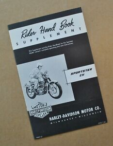 Original 1959-62 Harley Sportster XLCH Rider Hand Book Owners Manual Supplement