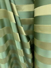 Sage Green Gold Striped Brocade Upholstery Drapery Fabric (110 in.) Sold Bty
