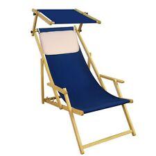 Chaise de Jardin Bleu Lit Soleil Plage Toit Ouvrant Longue 10-307 N S Kh