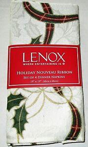 "LENOX HOLIDAY NOUVEAU RIBBON DINNER NAPKINS 19"" X 19"" Set of 4 Napkins"