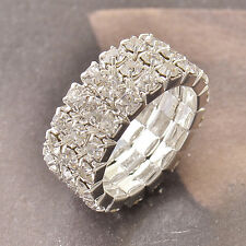 Much Row Cubic Zirconia 9K White Gold Filled Womens Ring7 Adjustment F4998