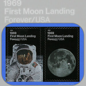 2019  FIRST MOON LANDING  attached Pair of 2  USPS Forever® Stamps  # 5399-5400